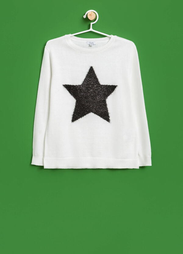 Knitted cotton star pullover