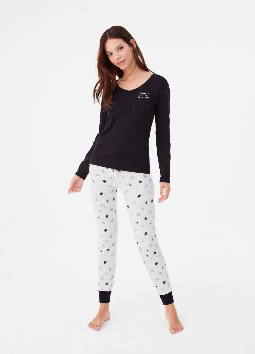 100% cotton pyjamas with pocket and print