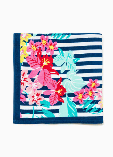 Cotton beach towel with stripes and flowers