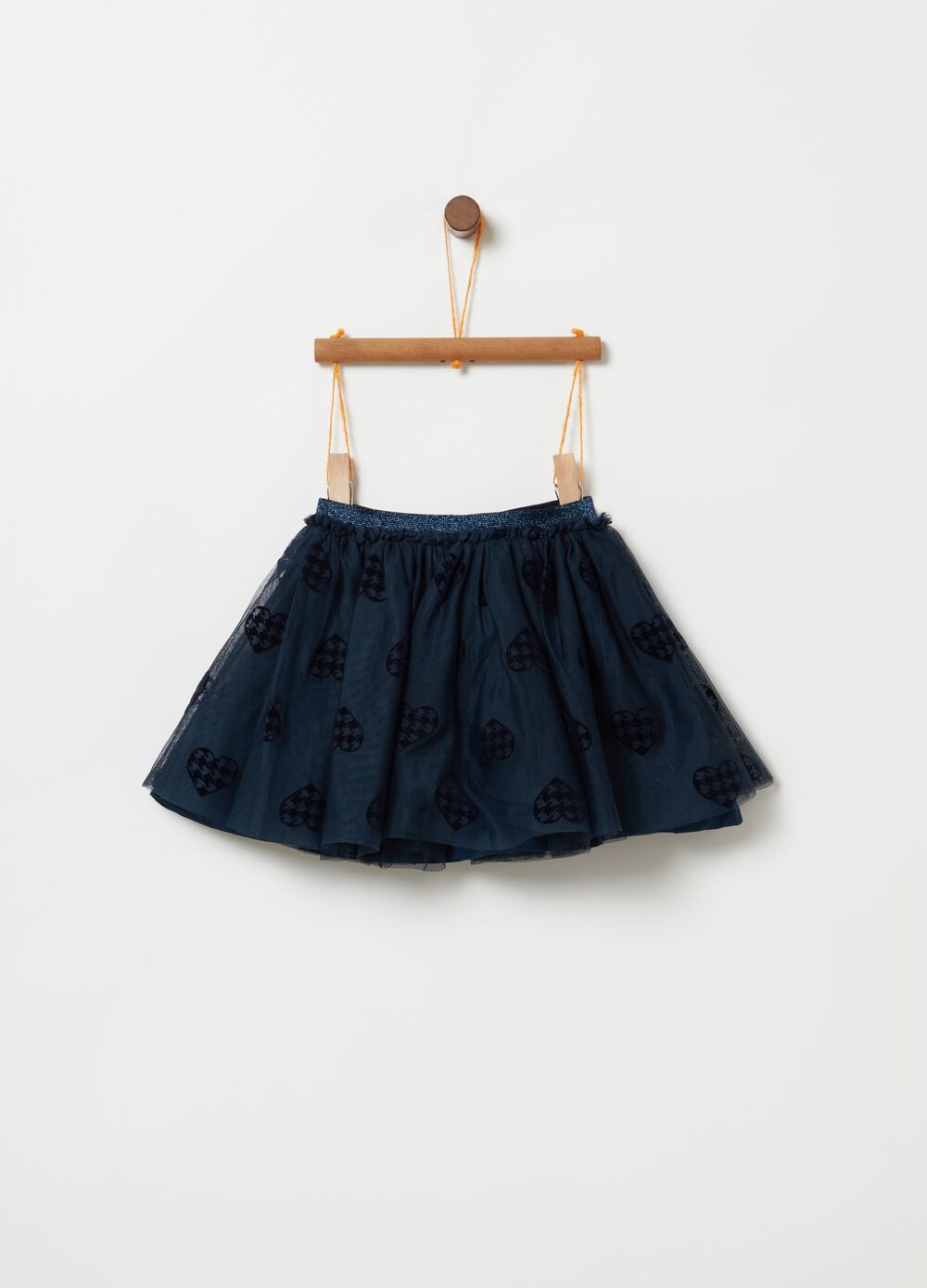 Pleated skirt with heart patterned tulle