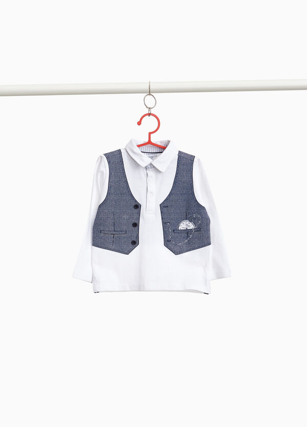 100% cotton polo shirt with gilet print