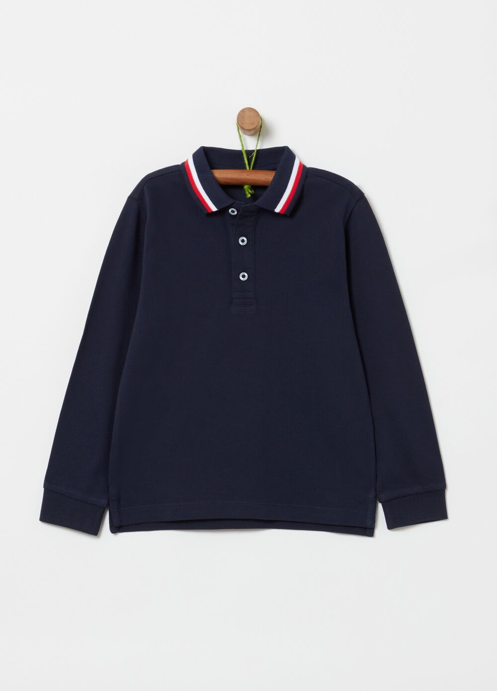 Polo shirt in 100% cotton with long sleeves