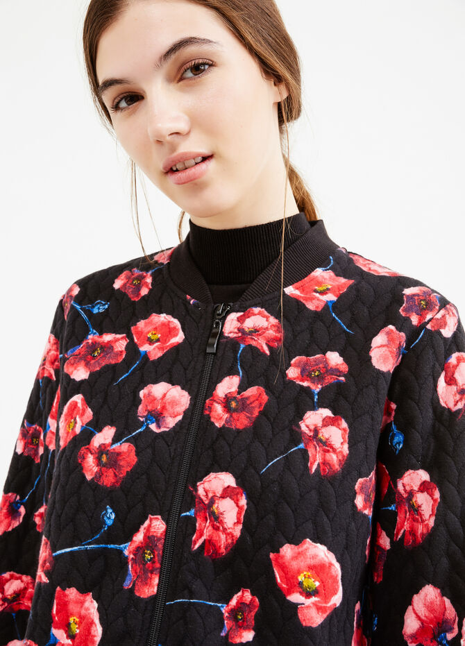 Sweatshirt with raised weave and floral print