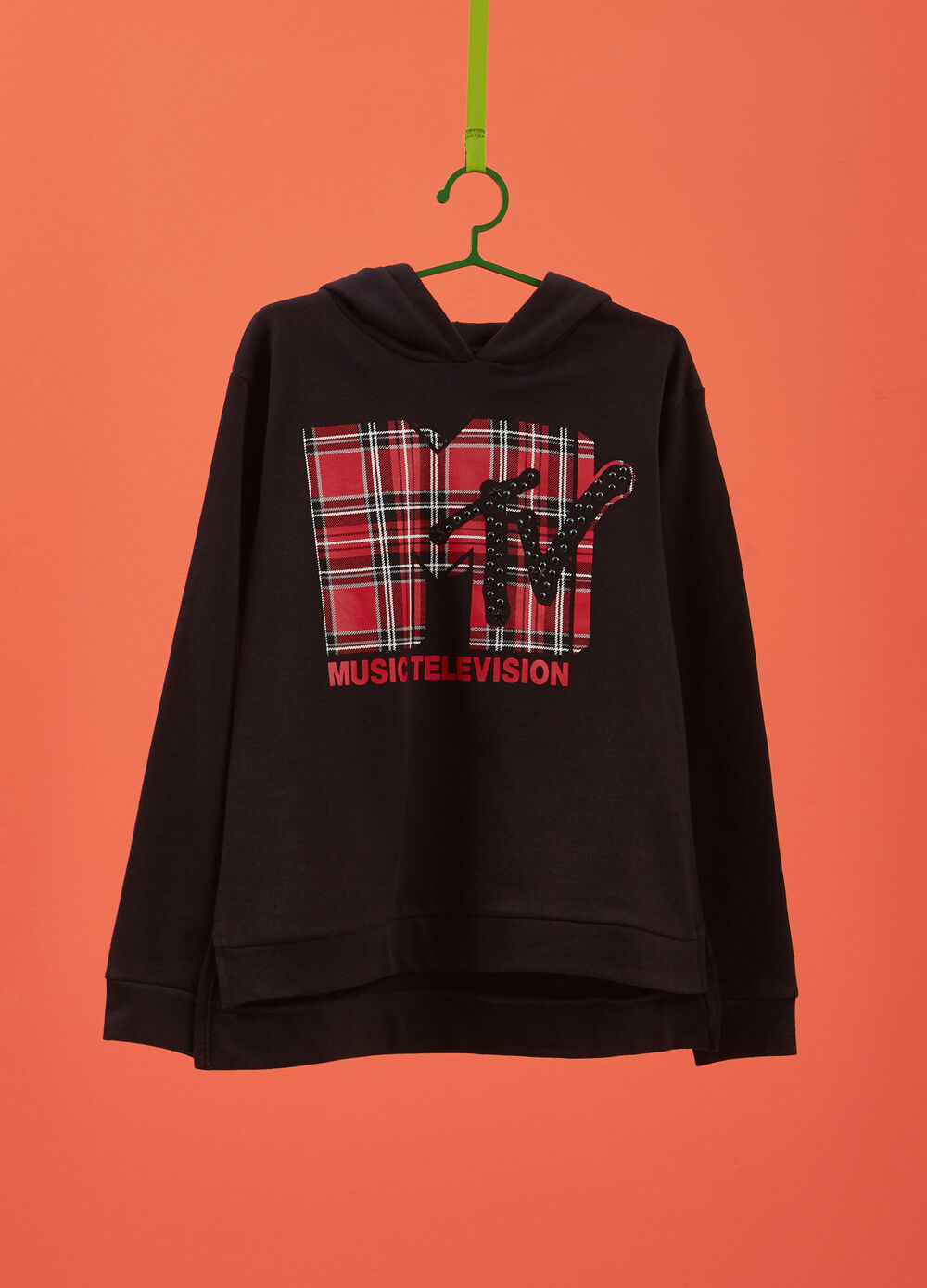 100% cotton sweatshirt with MTV print and studs