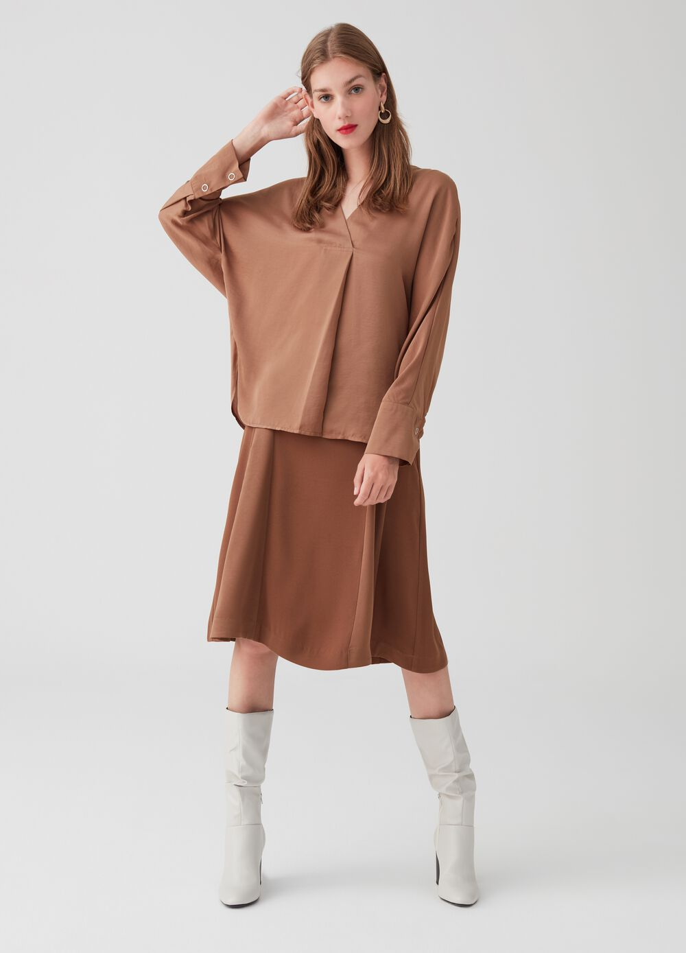 Satin-effect blouse with V neck
