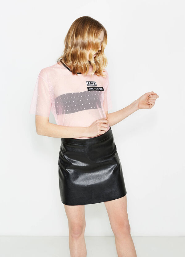 T-shirt in tulle stretch fantasia pois | OVS