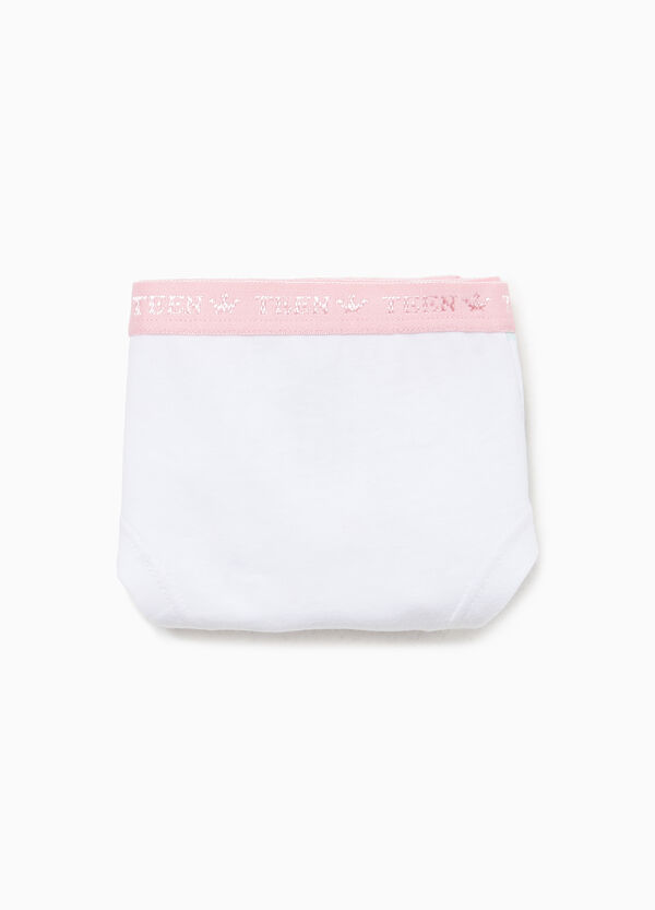 Stretch briefs with heart and crown pattern
