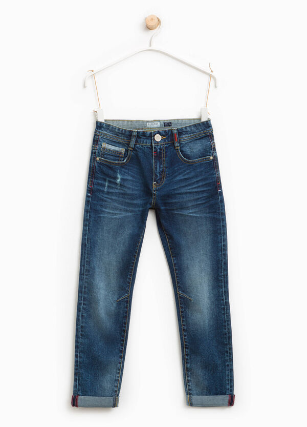 Slim fit, worn-effect jeans with turn-ups | OVS
