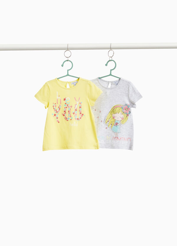 Two-pack T-shirts in floral cotton