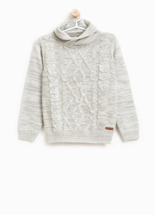 Knitted alpaca wool pullover with high neck. | OVS