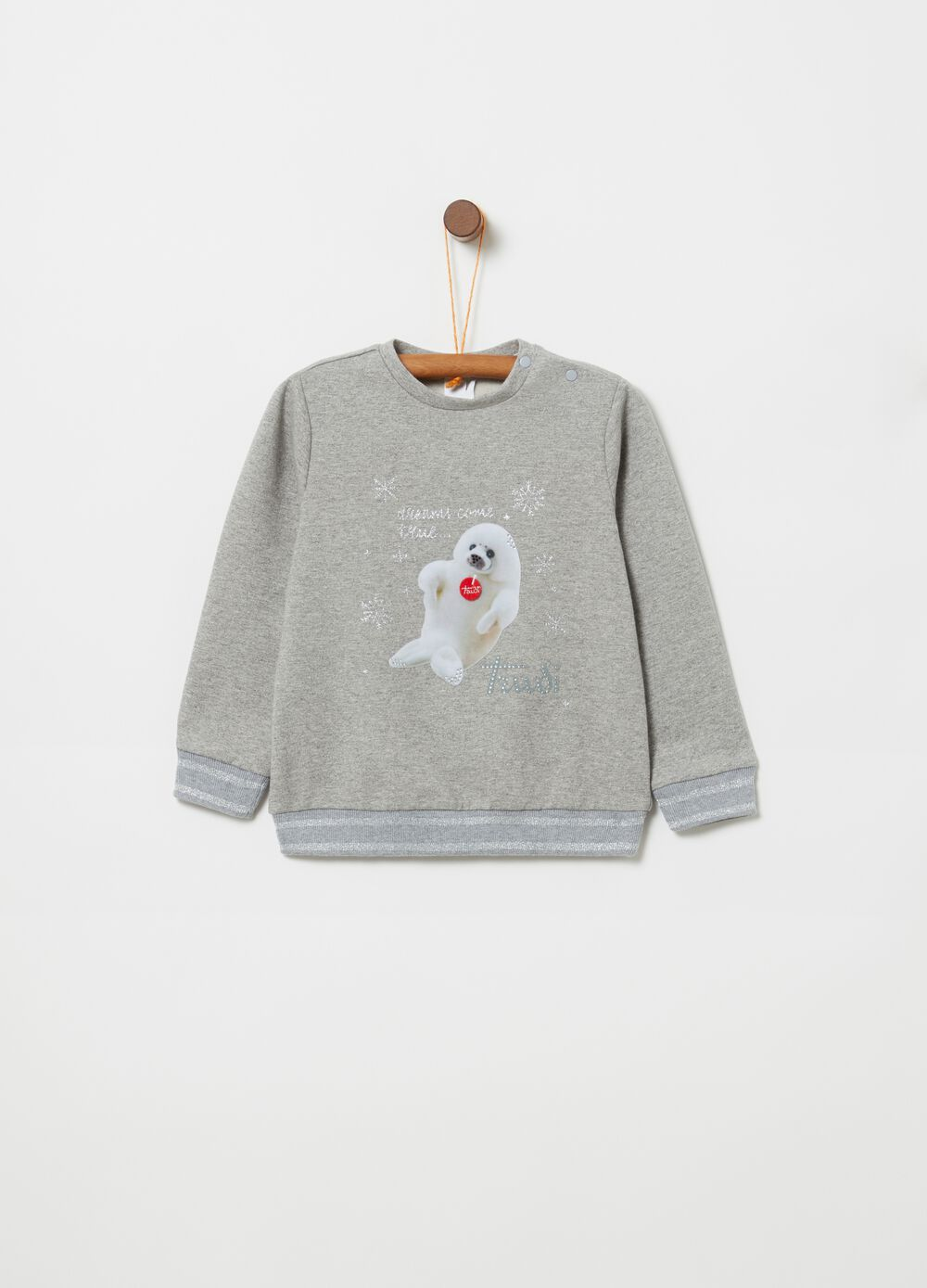 Sweatshirt with glitter Trudi print and diamantés