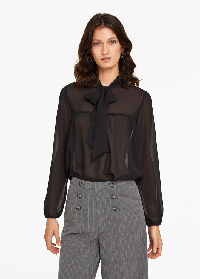 Semi-sheer blouse with tie