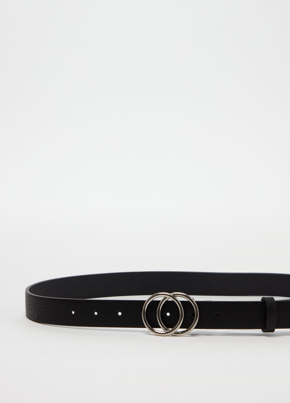 Belt with round double buckle