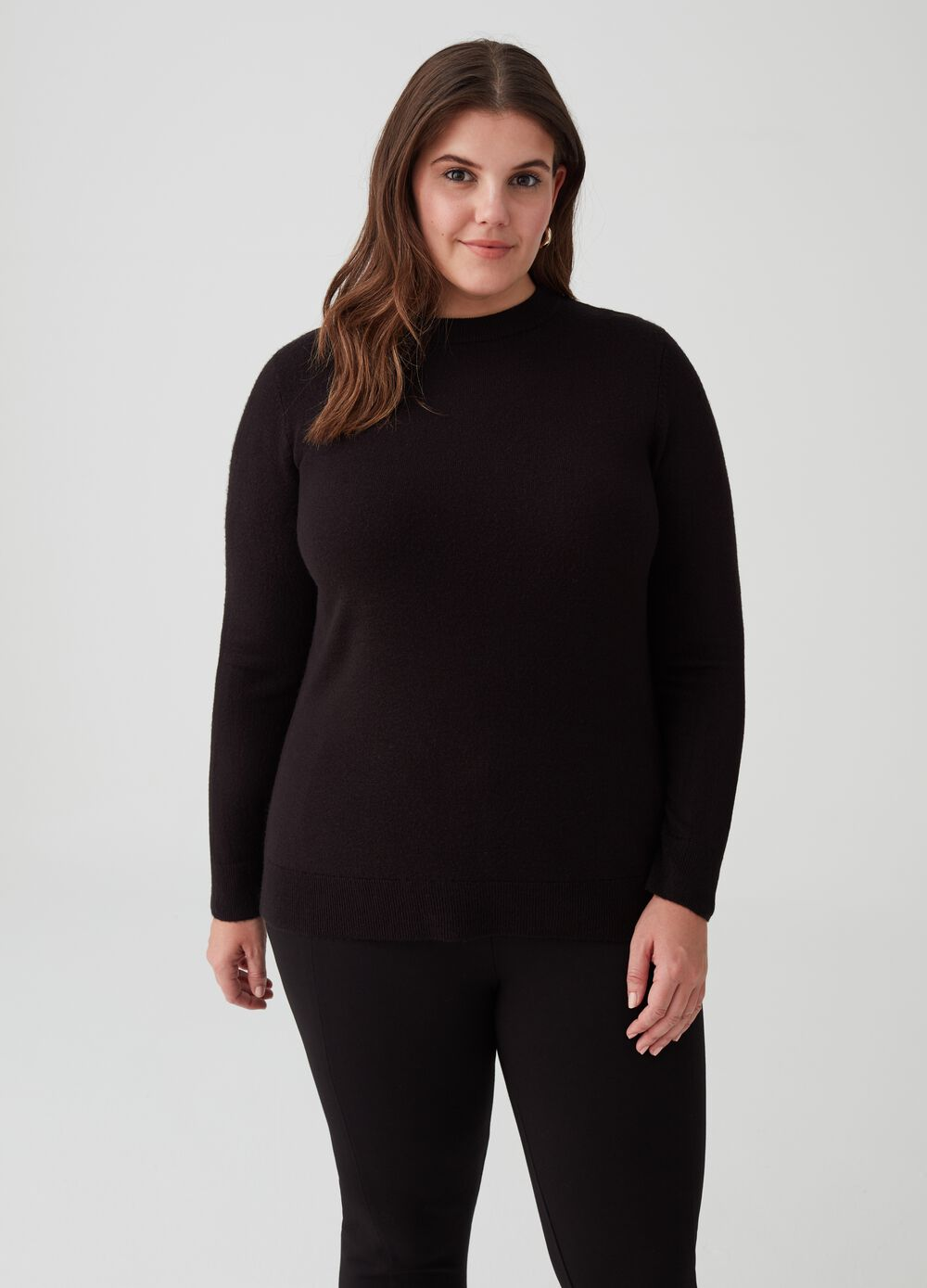 Curvy knit pullover with ribbing