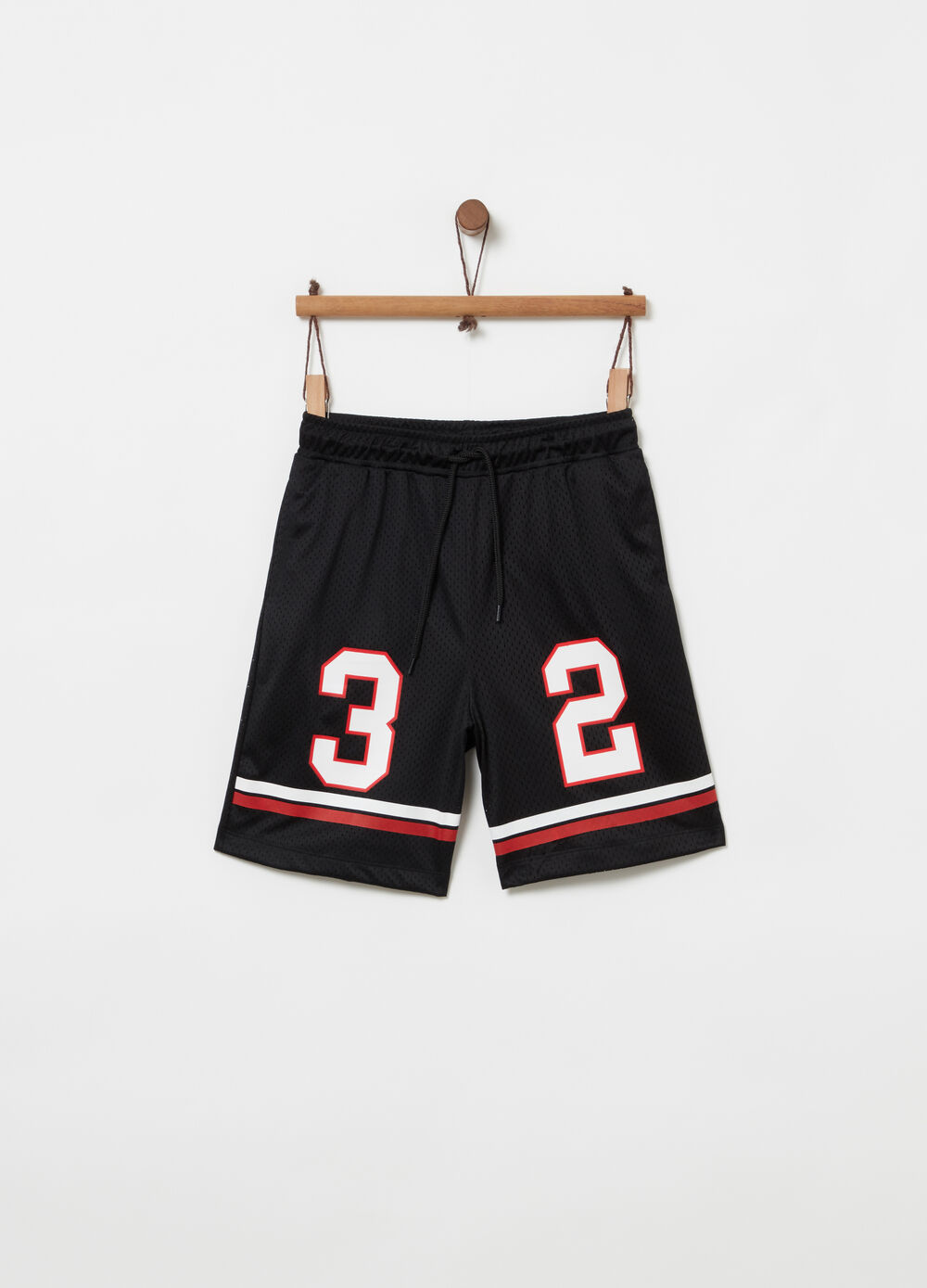 Mesh shorts with jersey lining and drawstring