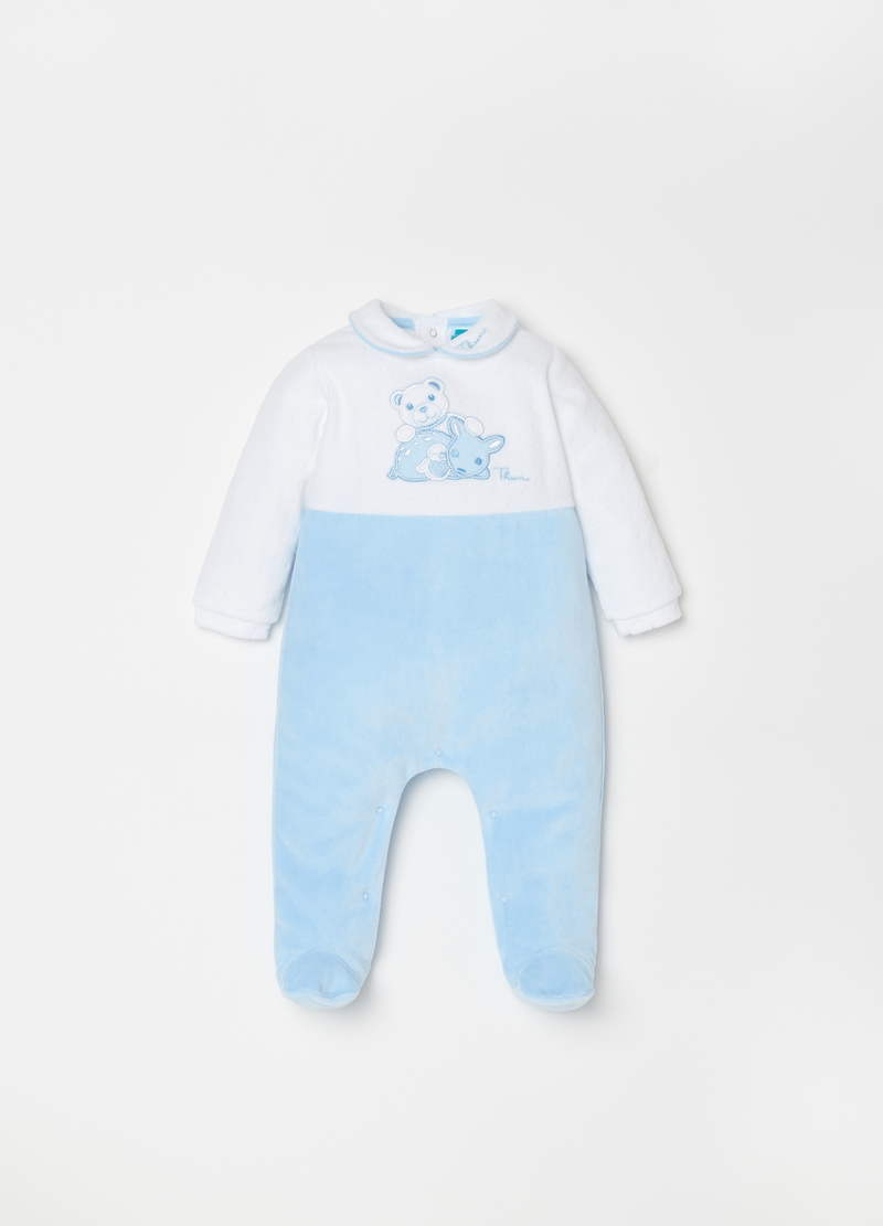 Chenille Onesie With Feet And Thun Embroidery Ovs Es