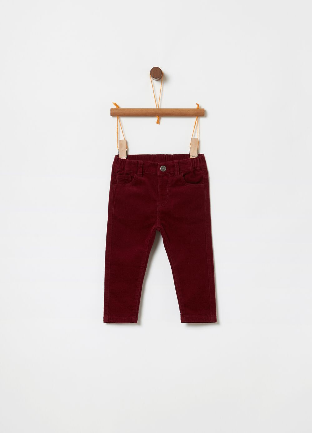 Stretch velvet trousers with five pockets