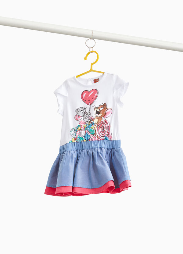 Two-tone Tom and Jerry stretch dress