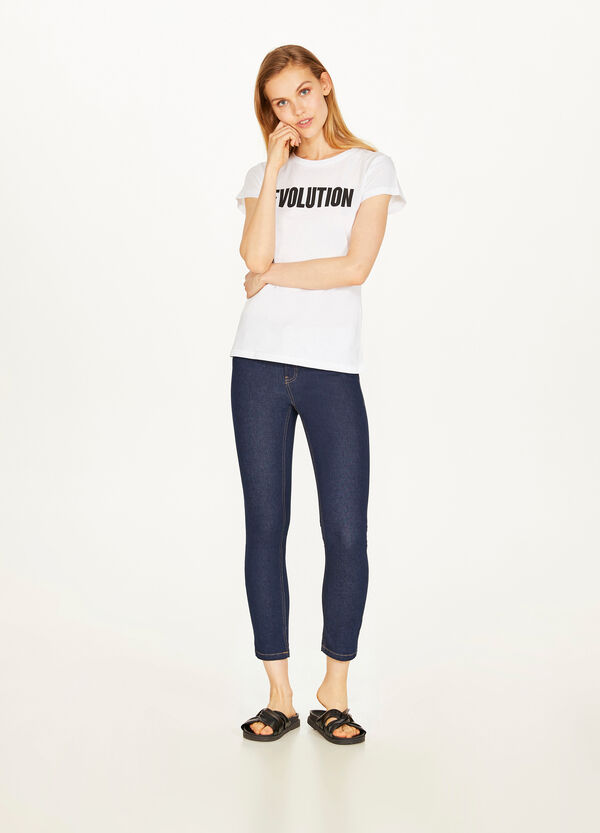 Solid colour, stretch skinny-fit crop jeans