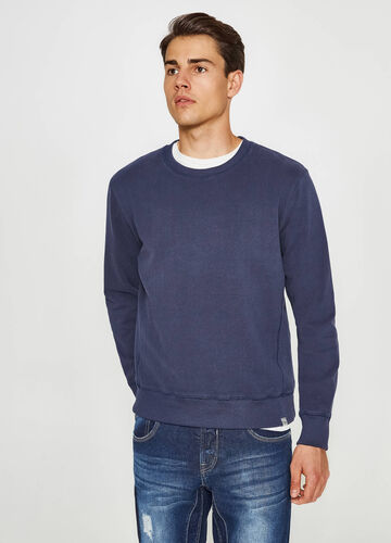 Solid colour cotton blend sweatshirt