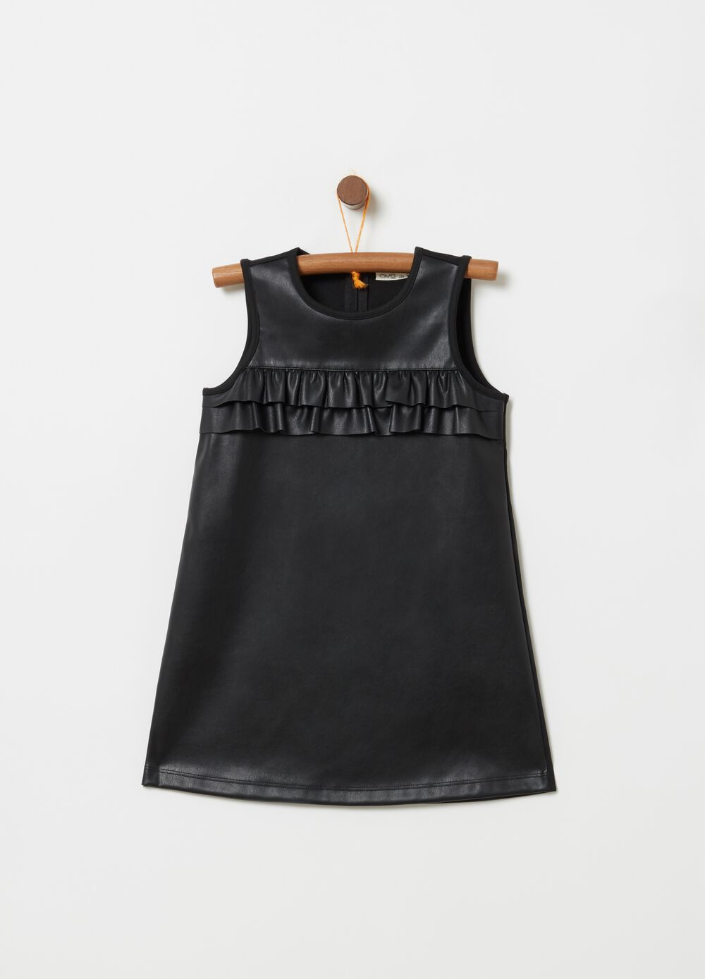 Leather-look dress with frills
