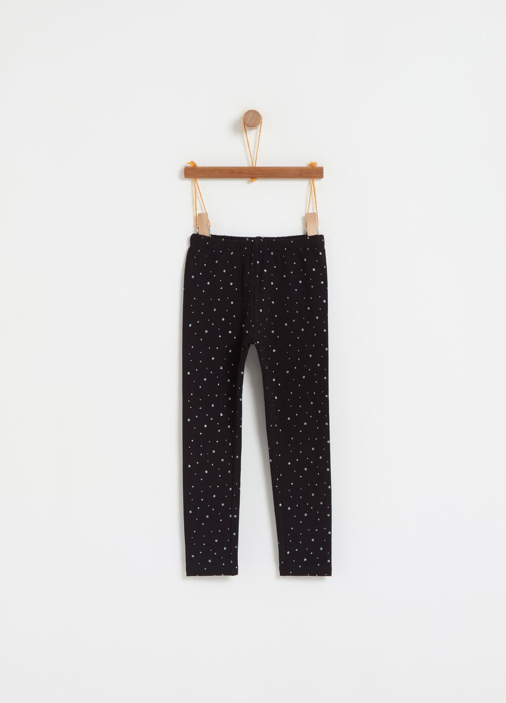 Stretch leggings with all-over glitter polka dots