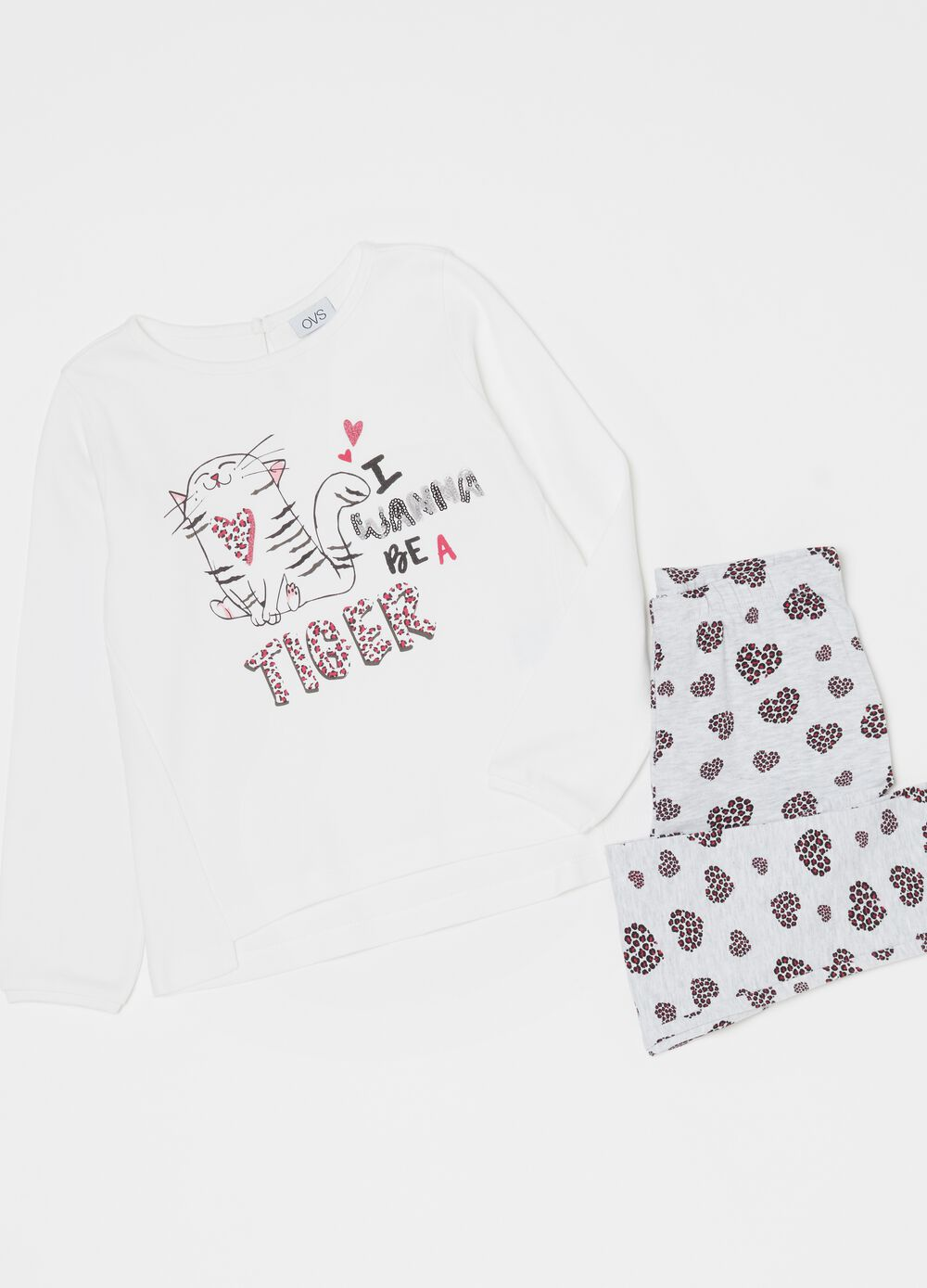 Organic cotton pyjamas with tiger print
