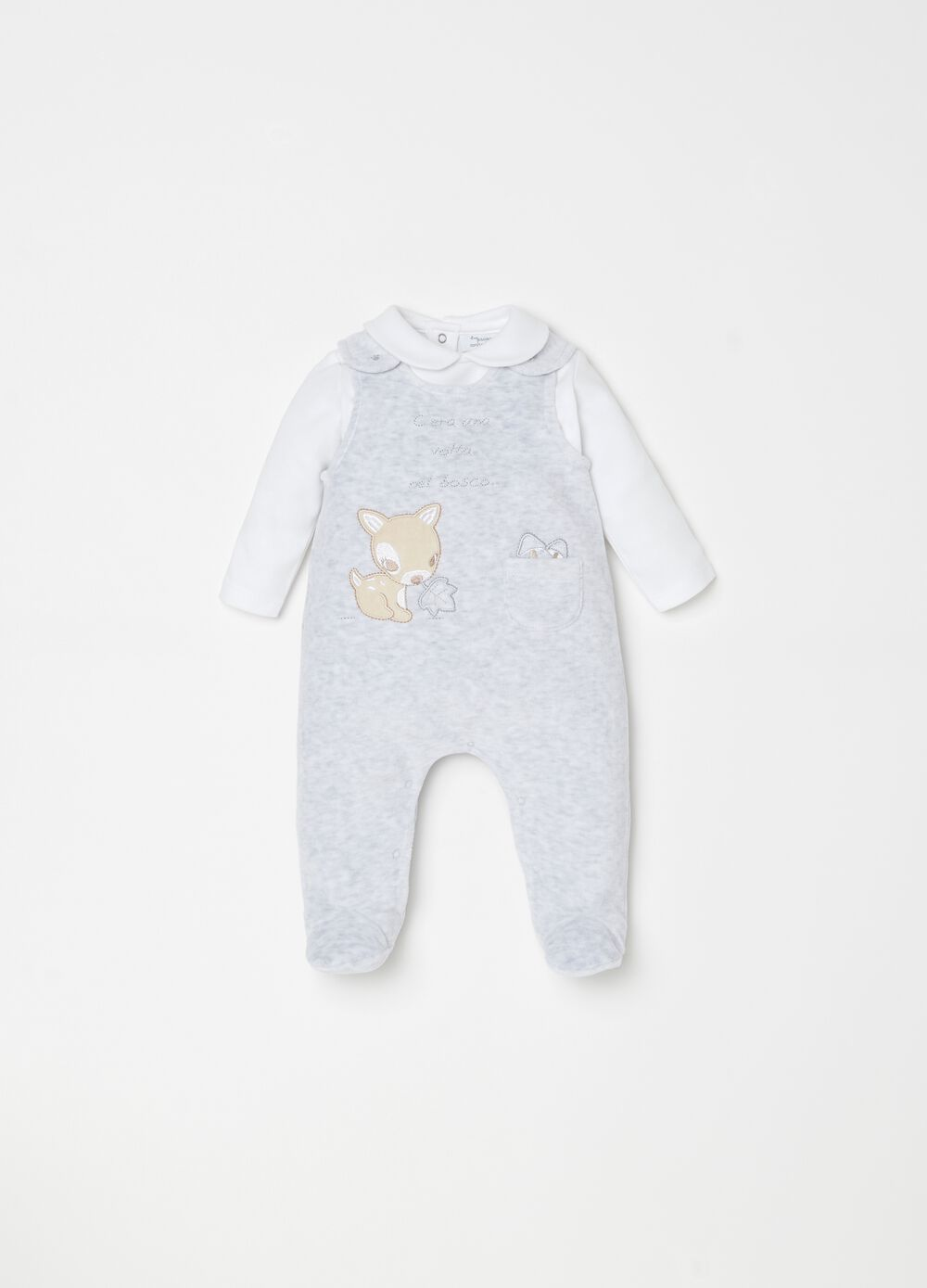 T-shirt and onesie set with feet and embroidery