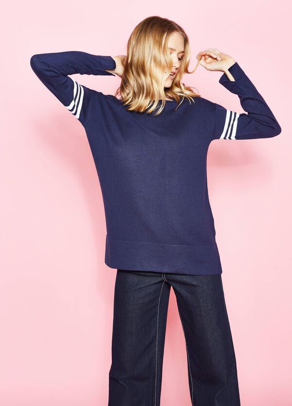 Cotton blend pullover with print | OVS