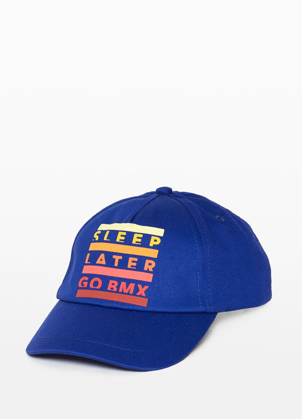 Baseball cap with printed lettering