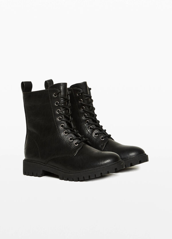 Textured-effect combat boots with laces