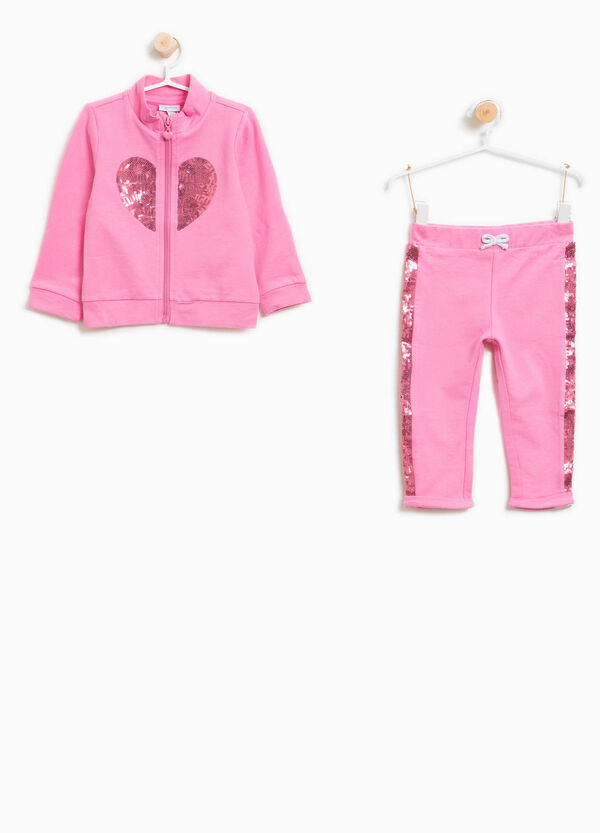 Stretch cotton tracksuit with hearts sequins | OVS