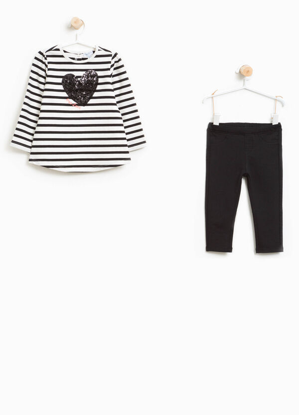 Stretch cotton T-shirt and leggings outfit   OVS