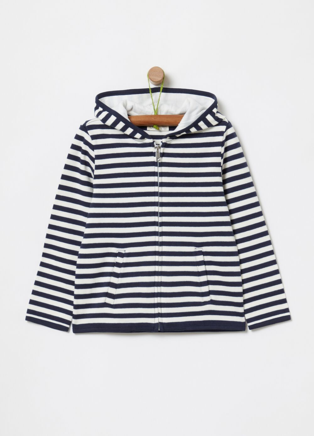 100% cotton sweatshirt with zip and stripes