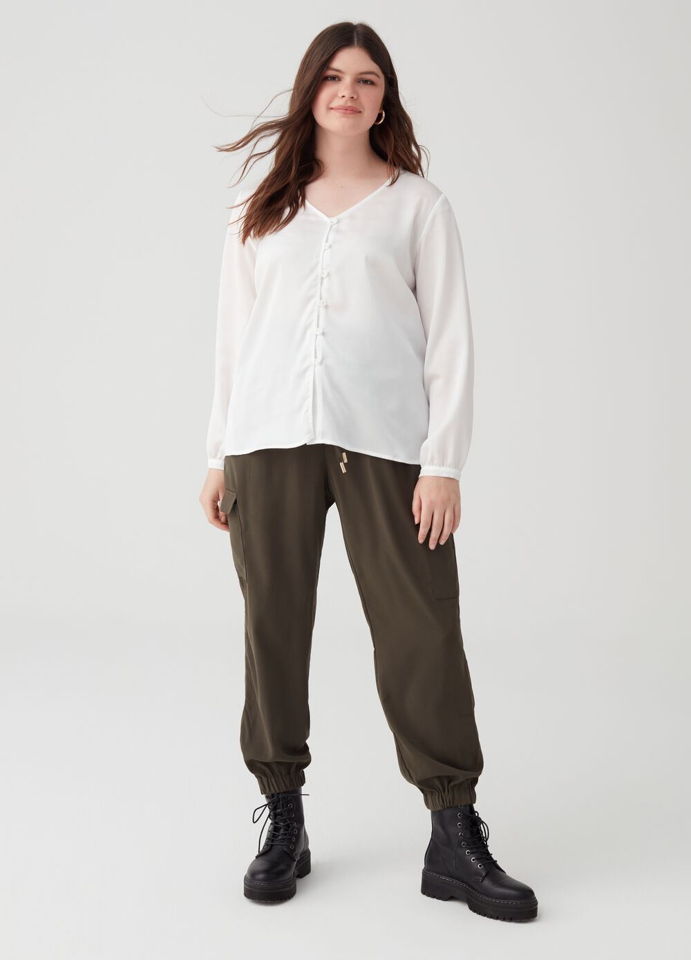 Curvy cargo trousers with drawstring