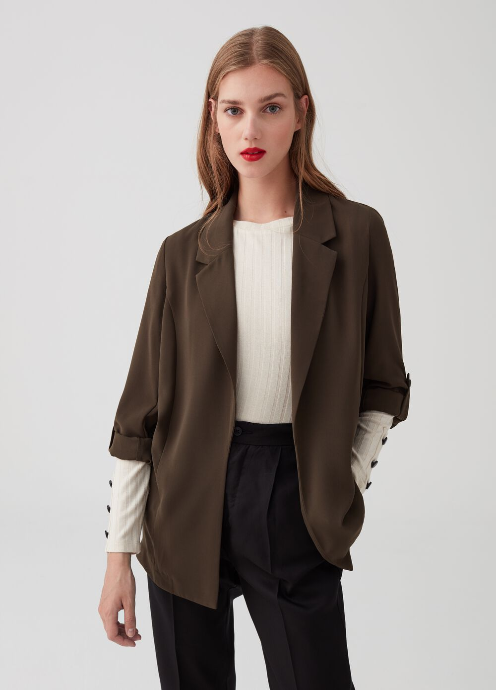 Solid colour destructured jacket