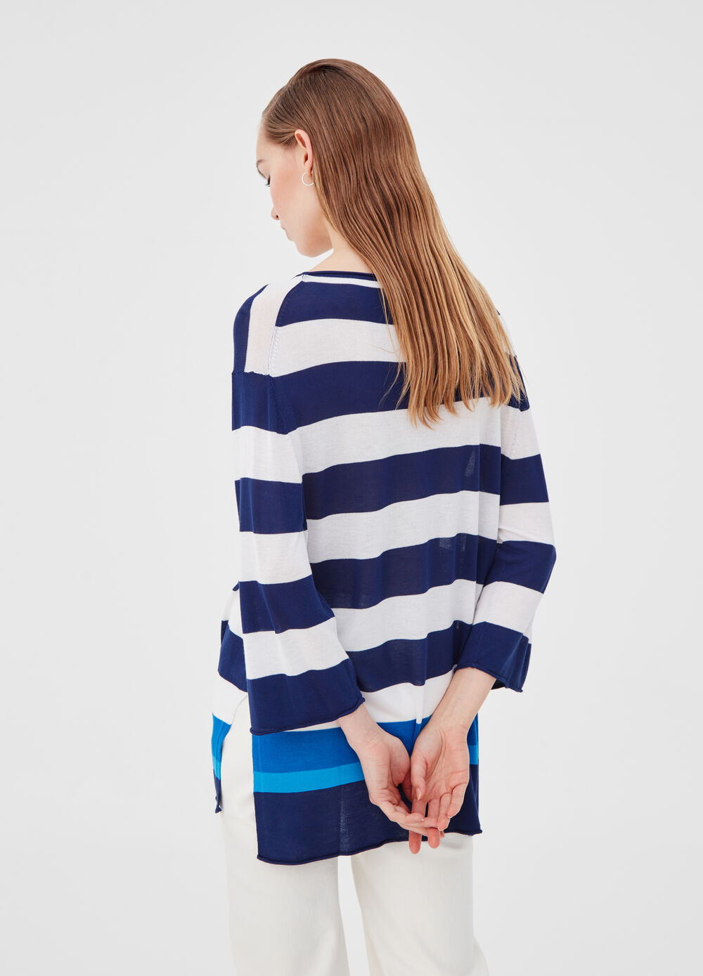 Oversized knitted T-shirt with striped raw edges