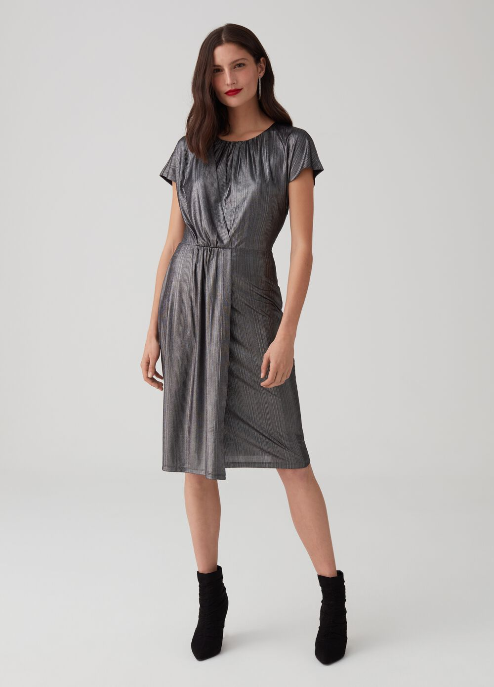 Fabric dress with glossy-effect lurex