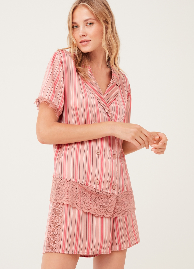 Pyjama shorts with lace and striped pattern image number null