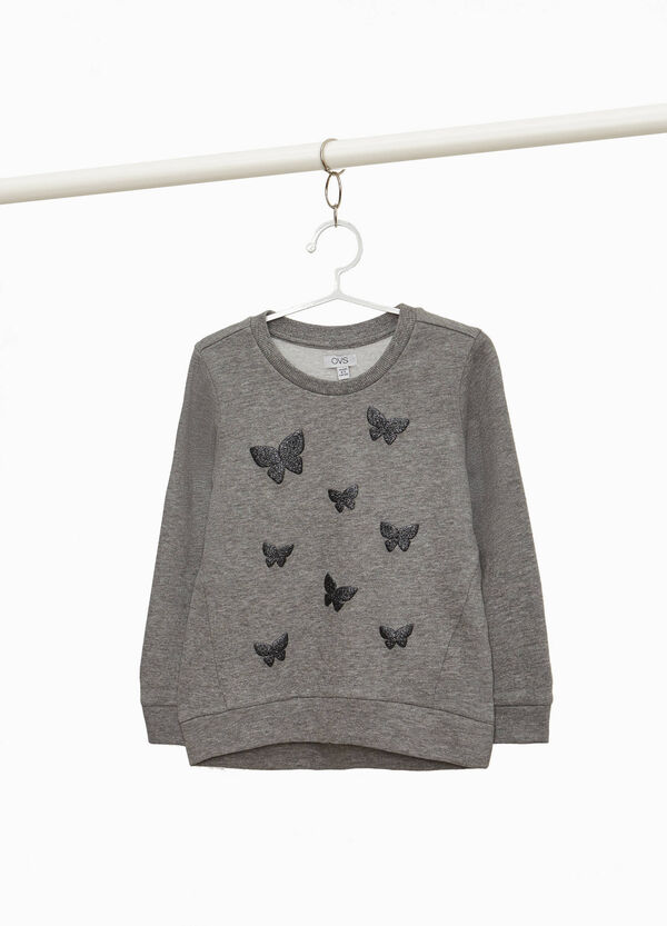 Sweatshirt with glitter butterfly print