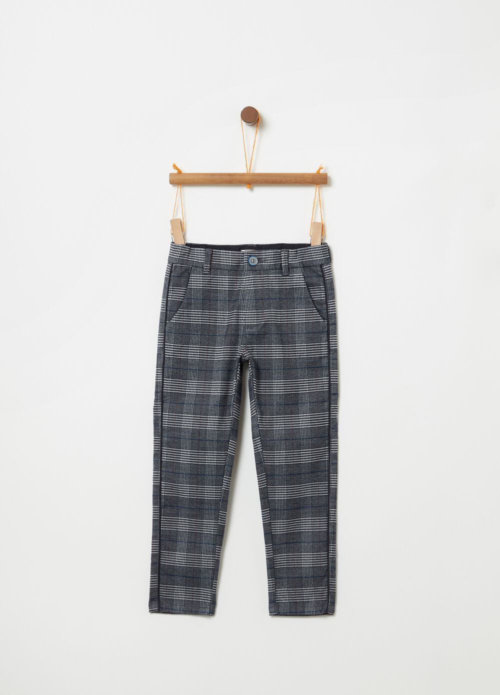 Stretch chinos with check pattern