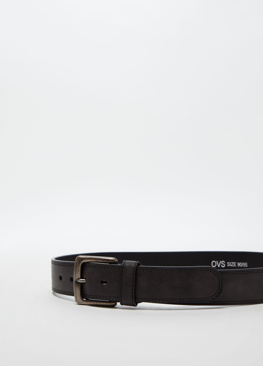 Belt with stitching and square buckle