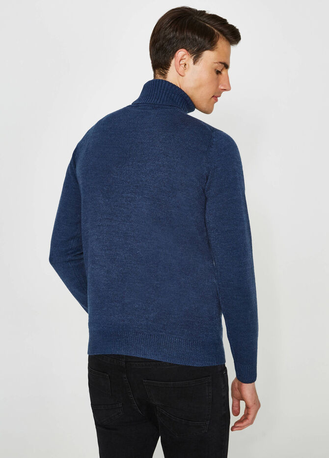 Pull col montant couleur unie