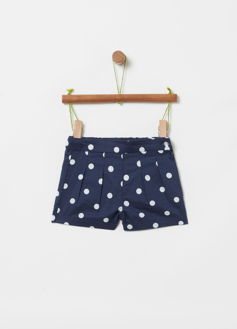 100% cotton polka dot shorts