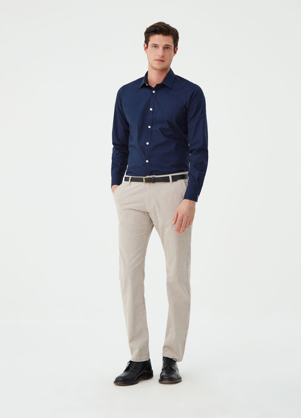 Solid colour regular-fit poplin shirt