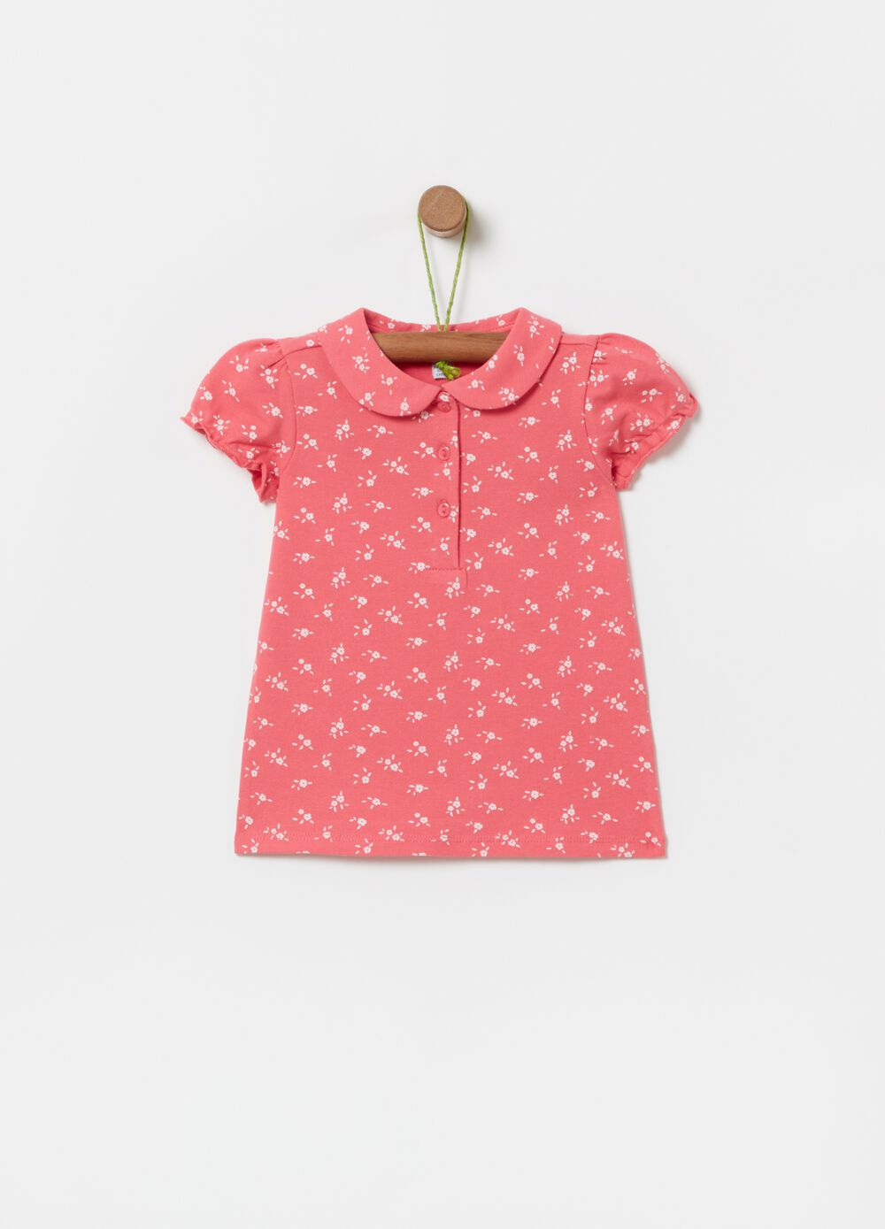 Floral stretch polo shirt in organic cotton