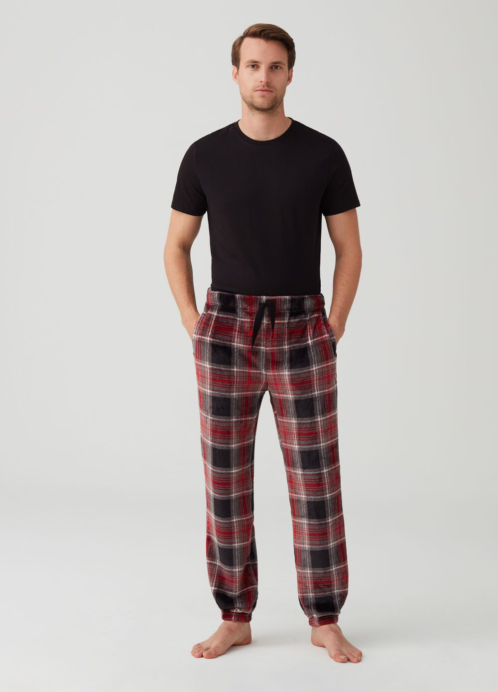 Fleece trousers with check drawstring