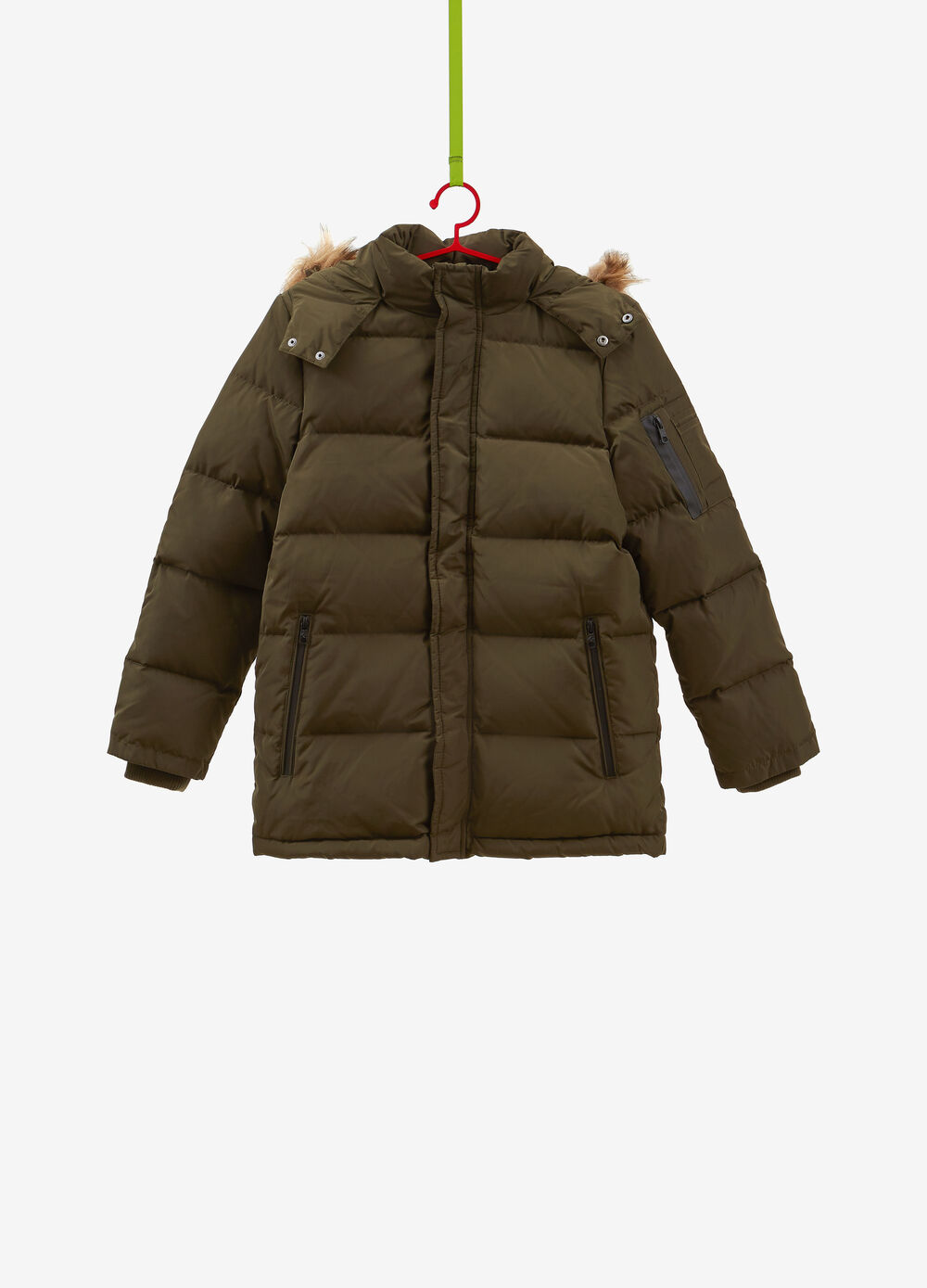 Very heavy down jacket with faux fur hood