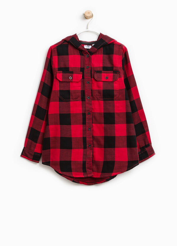 Micro check and check cotton shirt | OVS
