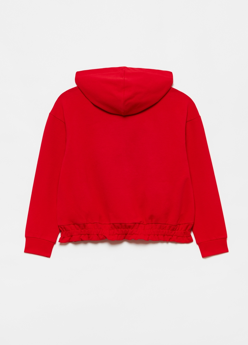 Full-zip sweatshirt with hood in stretch cotton image number null